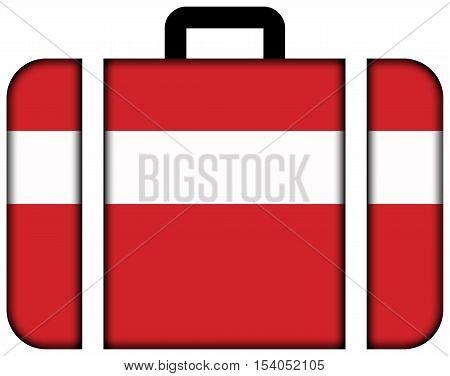 Flag Of Vaduz, Lichtenstein. Suitcase Icon, Travel And Transportation Concept