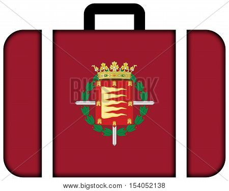 Flag Of Valladolid, Spain. Suitcase Icon, Travel And Transportation Concept