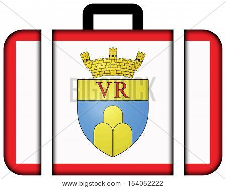 Flag Of Victoria, Gozo Region, Malta. Suitcase Icon, Travel And Transportation Concept