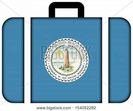Flag Of Virginia Beach, Virginia, Usa. Suitcase Icon, Travel And Transportation Concept