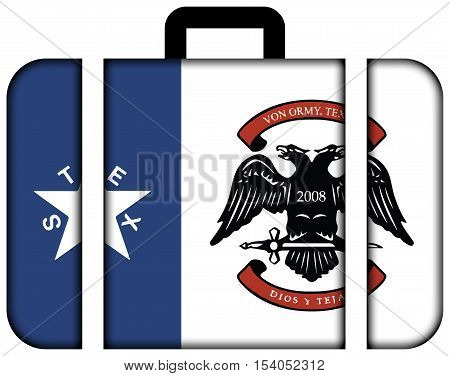 Flag Of Von Ormy, Texas, Usa. Suitcase Icon, Travel And Transportation Concept