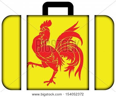 Flag Of Walloon Region (wallonia), Belgium. Suitcase Icon, Travel And Transportation Concept
