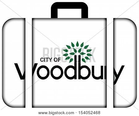 Flag Of Woodbury, Minnesota, Usa. Suitcase Icon, Travel And Transportation Concept
