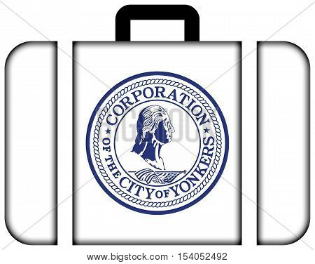 Flag Of Yonkers, New York, Usa. Suitcase Icon, Travel And Transportation Concept