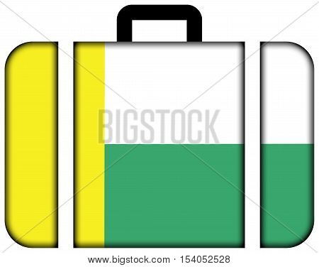 Flag Of Zielona Gora, Poland. Suitcase Icon, Travel And Transportation Concept