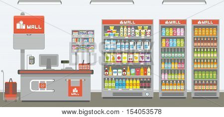 Supermarket interior, shop shelves and refrigerator, vector cartoon illustration, background design