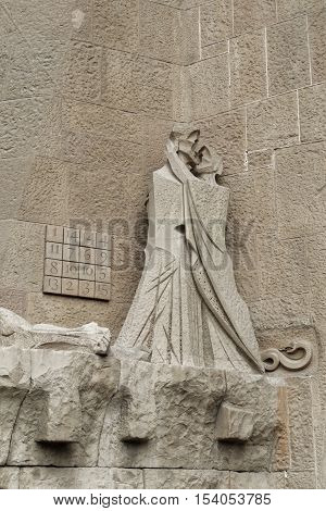 Barcelona, Spain - 24 September 2016: Sagrada Familia sculptures in the facade. Sculptures in the Passion Facade of the Sagrada Familia.