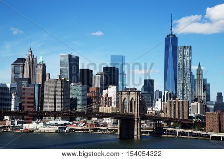 Aerial view of New York City Downtown Skyline with Brooklyn Bridge