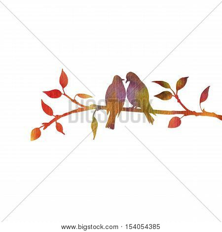 watercolor silhouettes of birds at tree, hand drawn songbirds at branch, Valentine symbol, a pair of lovers, color nature background