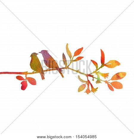silhouettes of birds at tree, hand drawn waxwings at branch, Valentine symbol, a pair of lovers, color nature background