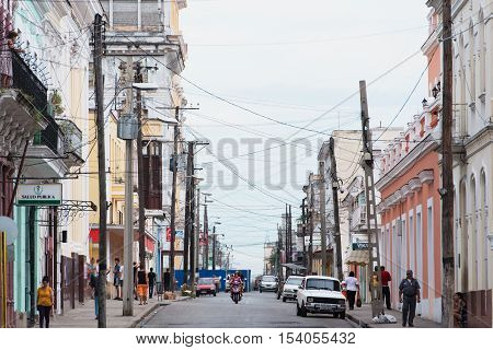 Cienfuegos, Cuba - September 14, 2016: Architectural details and architecture in the old town of Cienfuegos, Cuba