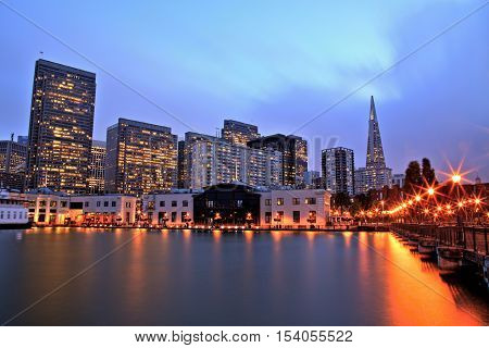 Illuminated San Francisco Downtown at Dusk, USA