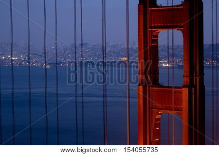 Golden Gate Bridge in Detail with San Francisco in the Background