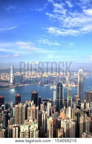 Hong Kong Skyline at Sunset at Sunny Day