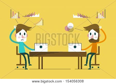 creative people working in co working office. flat design elements. vector illustration