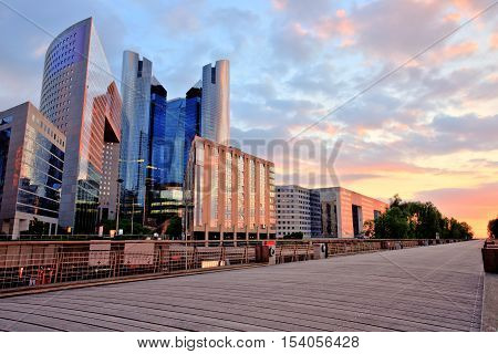 La Defense Modern Business District at Sunset, Paris