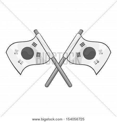 South Korea flags icon. Gray monochrome illustration of South Korea flags vector icon for web design