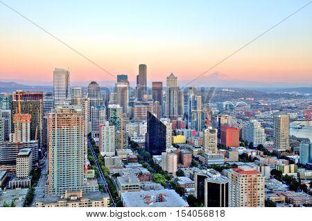 Seattle Aerial Skyline at Sunset, United States