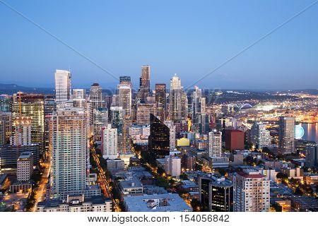 Seattle Aerial Skyline at Dusk, United States