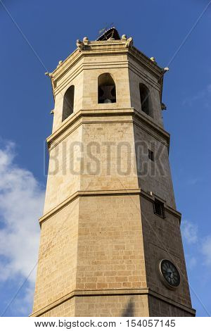 Tower, Traditional architecture of the center of the Spanish city of Castellon, Valencian Community