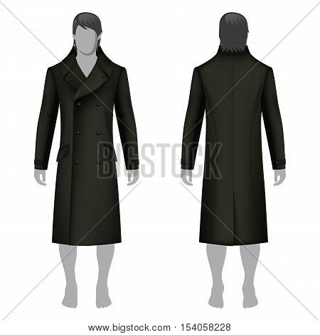 Man's coat outlined template (front & back view) & full length cloaked man's figure vector illustration isolated on white background