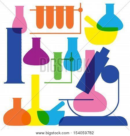 Laboratory and education icon - beaker.  White background, vector Illustration.