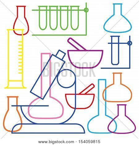 School and education icon - beaker.  White background, vector Illustration.