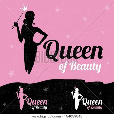 Queen of Beauty logo design vector template. Luxury glamour elegant woman silhouette with crown on pink and black textured background with stars. Logotype concept icon.