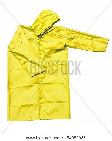 raincoat isolated on white background, yellow raincoat