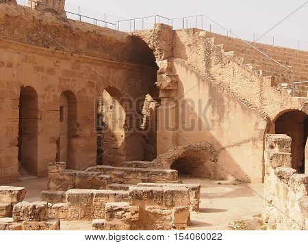 ruins of the Roman amphitheater in the city of El Djem in Tunisia