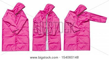 raincoat isolated on white background, pink raincoat
