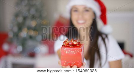 Decorative red Christmas gift with a bow