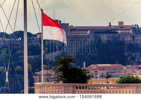 Principality of Monaco: Prince's Palace and flag in the foreground
