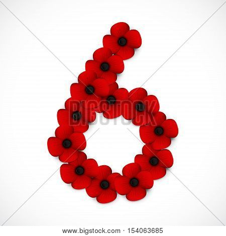 a red and black number six in poppies