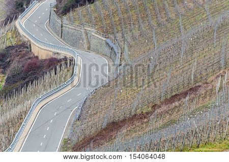 Winding Road through the vineyards on the Mosel in Germany.