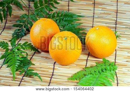 three sweet orange fruit, fresh orange - Stock Photo