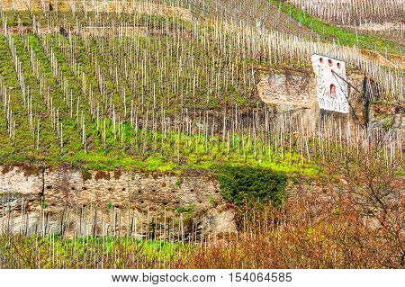 Zeltinger sundial in the wine-growing town on the Mosel in Zeltingen Germany referred a German vineyard.