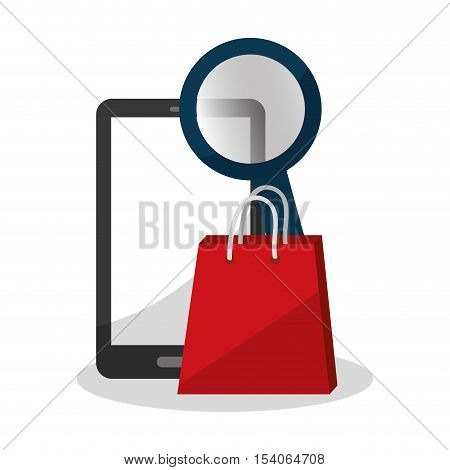 Smartphone and bag icon. digital marketing media and ecommerce theme. Colorful design. Vector illustration