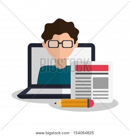 Laptop and avatar icon. digital marketing media and ecommerce theme. Colorful design. Vector illustration