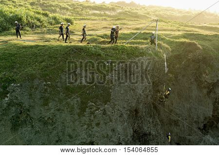 Okinawa Japan - October 24 2016: Unidentified people team doing rehearsal to rescue casualty at cape Manzamo Okinawa Japan.