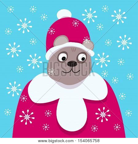 Good smiling bear in the clothes of Santa Claus. It's snowing.