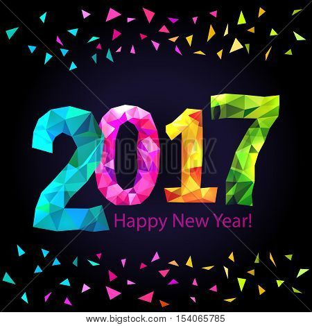 Happy New Year 2017 greeting card with colorful triangle shape multicolor confetti on black background. Vector.