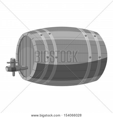 Wooden barrel icon. Gray monochrome illustration of wooden barrel vector icon for web