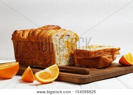 Homemade Bread With Orange Zest And Walnuts