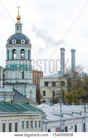 Moscow, Russia - October, 15, 2016: veiw of roofs of houses in a center of Moscow