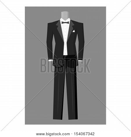Wedding tuxedo icon. Gray monochrome illustration of wedding tuxedo vector icon for web