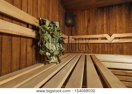 Wooden sauna for relaxation and wellness.