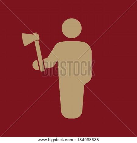 The lumberjack avatar icon. Forester and woodcutter, craftsman symbol. Flat Vector illustration