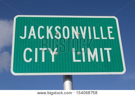 Jacksonville, Florida Green City Limit Sign