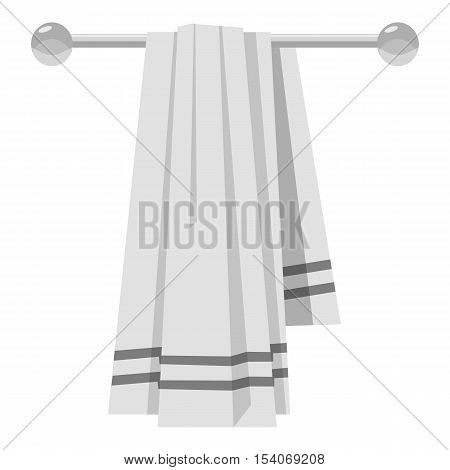 Towel on a hanger icon. Gray monochrome illustration of towel on a hanger vector icon for web